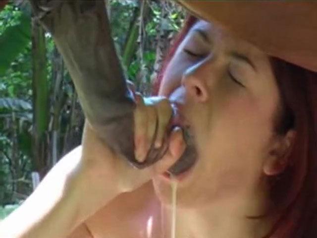 Belle rousse sodomisée profond par son cheval